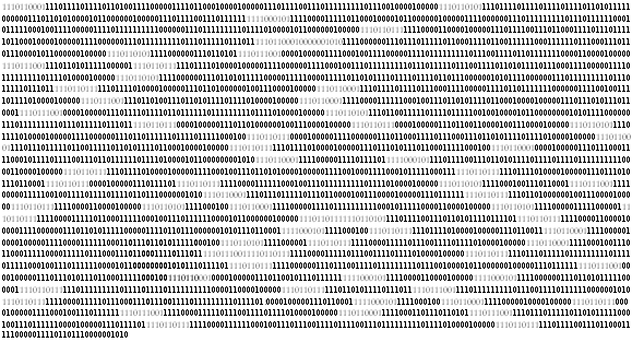 Binary code, a string of ones and zeros, rather like this: